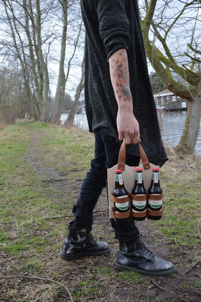 Handmade leather and wood six pack carrier. Too cool !!
