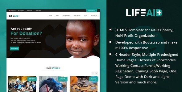 LifeAid - Minimal Charity, NGO, Non-Profit, Fund Raising HTML - ngo templates