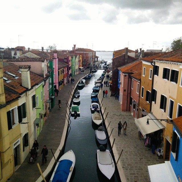 """Colors of #Burano - The view from the roof top restaurant """"Riva Rosa"""". Burano island is known for its hand-knitted laces and colored houses. Their colors were to facilitate returning with the catch to..."""