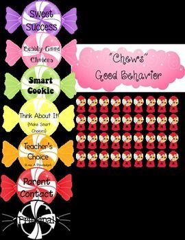 """Chews"" Good Behavior Candy Theme Behavior Chart"
