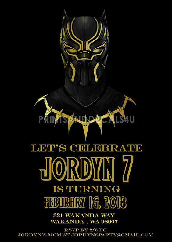 Etsy Shop Printsanddecals4u Marvel Black Panther Birthday Party Invitation Digital Download