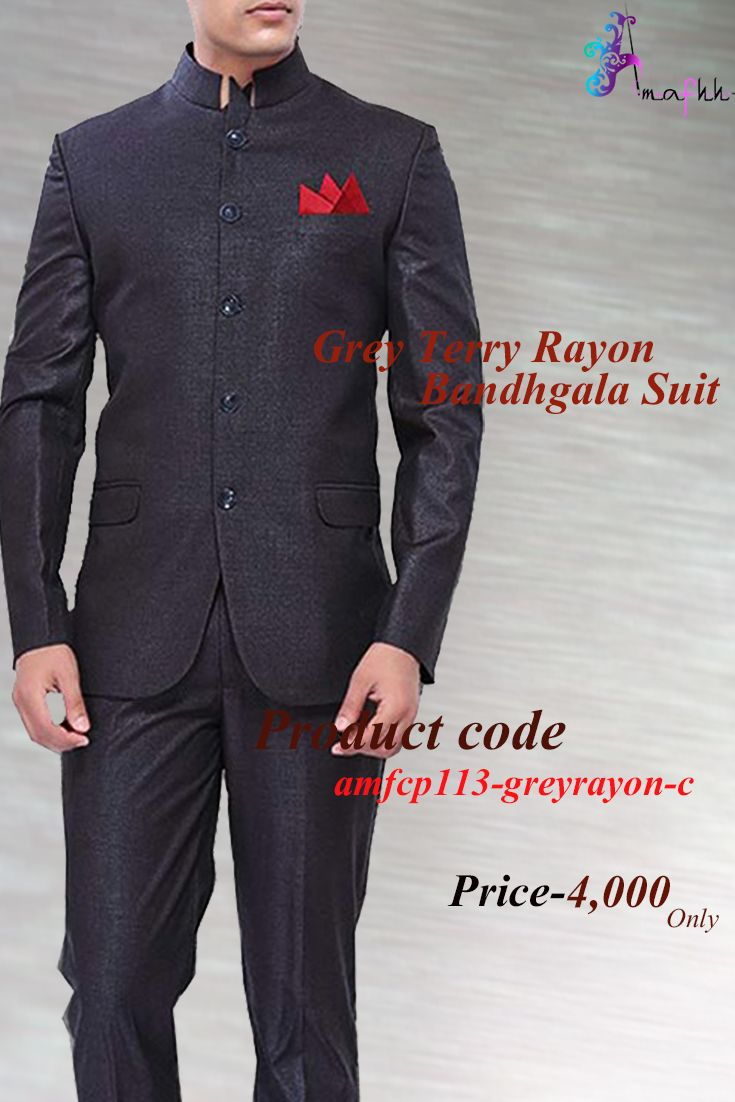 Dark grey shade terry rayon bandhgala suit is stylized with a collar, buttons and pockets. If you are planning to buy any valuable and worthy gift for your loved ones then this product is a perfect option. Comes with matching trousers.