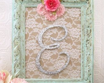 air jordan s Shabby Chic Nursery Decor Baby Girl Nursery Framed Letters Glitter Monogram Pink and Mint Wall Decor   I love the lace background