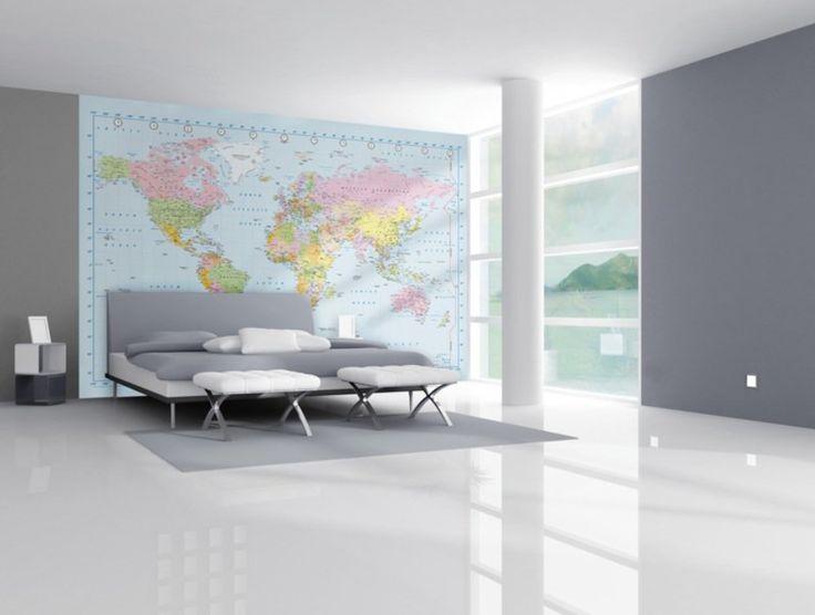 World Map fotobehang bij Behangwebshop