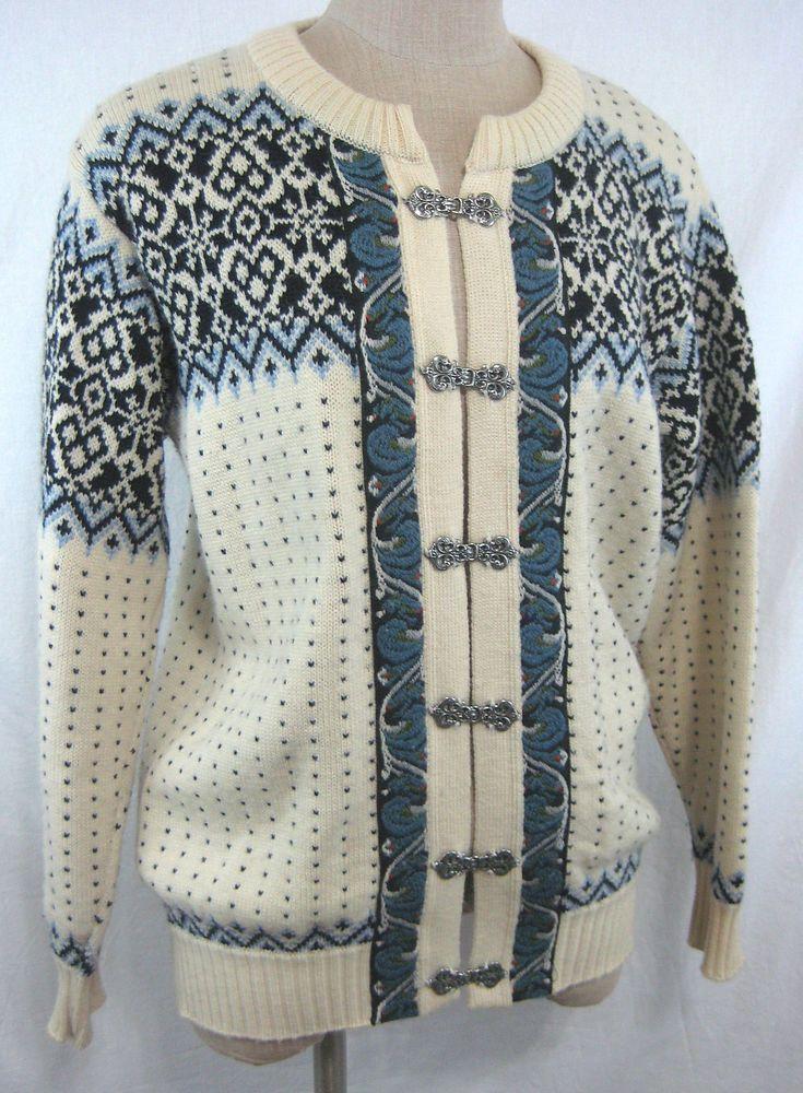Vintage 80s Nordic Design Ski Sweater Cardigan Knit 100% Wool sz L New Zealand #Norsewear #Cardigan