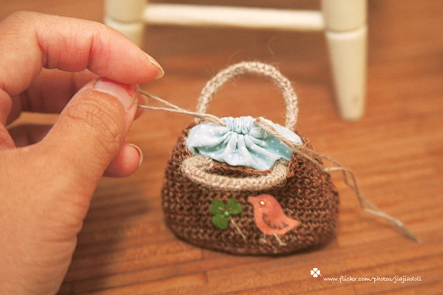 little bird and clover knitted bag by ++ Jiajia ++, via Flickr