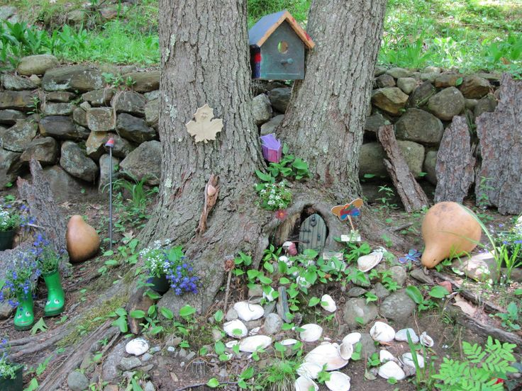 Ideas Outdoor ~ Chic Miniature Houses And Fairy Garden Ideas Pictures  Gallery: Appealing Little House Between Trees And Landscape Mini Fairy  Garden Ideas