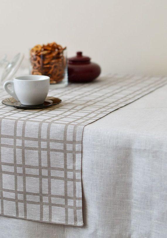 Plaid Linen Table Runner Checked Natural Runner Tartan Gray Linen With White, Eco Friendly Linen Table Runner