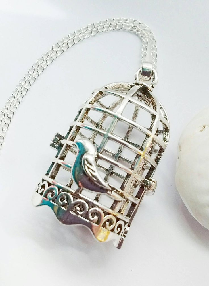 Birdcage Necklace, Bird Necklace, Animal Necklace, Vintage Necklace, Gift For Her, Animal Lovers Gift, Anniversary Gift, Boho Necklace by TwiggyPeasticks on Etsy