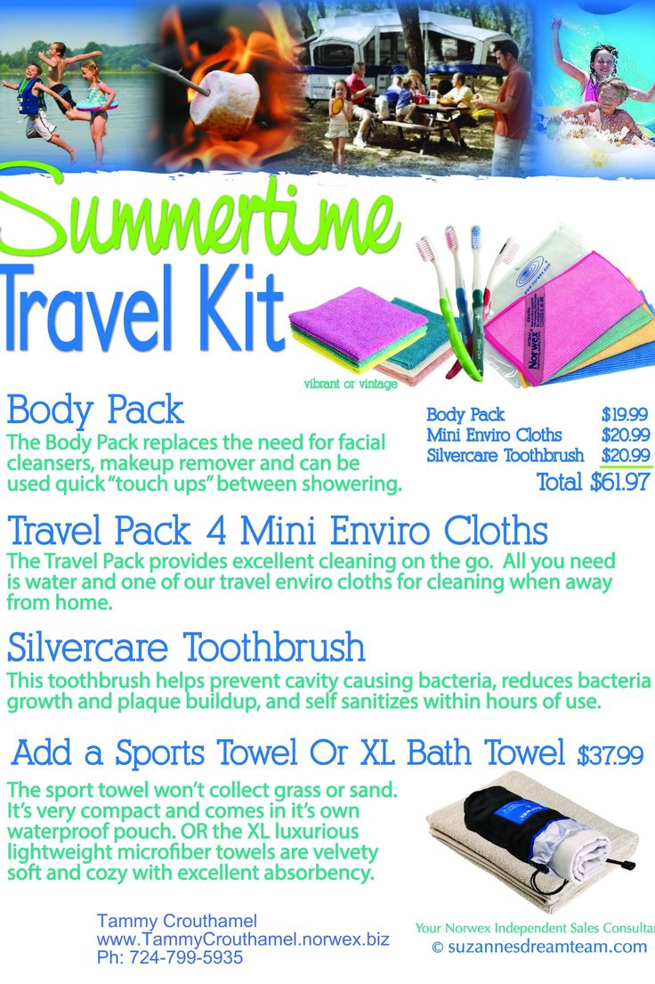 Norwex offers some great products to help keep you and your family clean and chemical free while you travel this summer. Check out some of the options on the attached graphic. The body cloths and sport towel are awesome for camping or beach trips! Let me know if I can help you with any packing or cleaning challenges. For more details or to order, visit http://www.TammyCrouthamel.norwex.biz or call me at: 724-799-5935.
