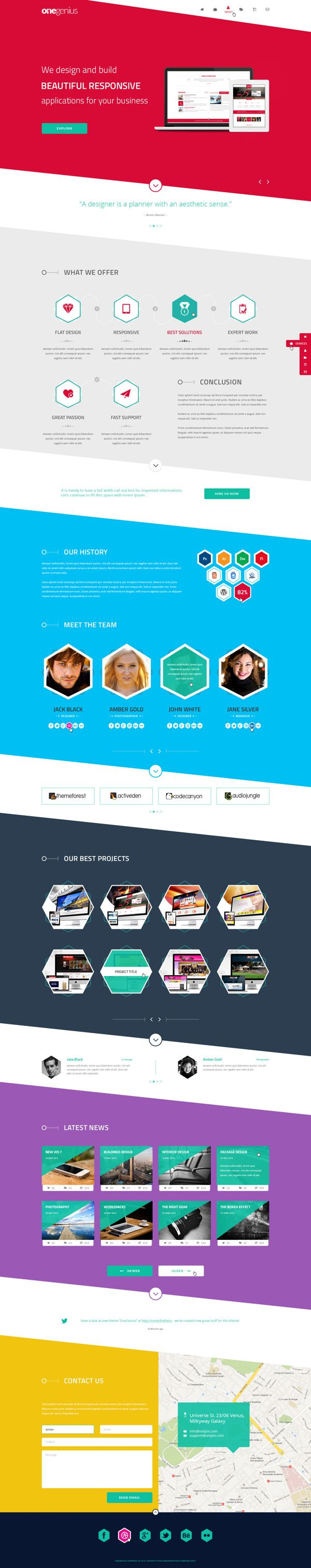 OneGenius - One Page Flat Portfolio PSD Template by Zizaza - design ocean , via Behance