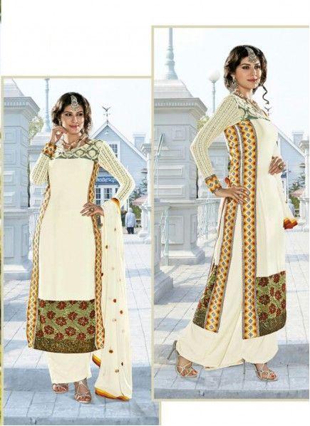 Galvanizing Off White Satin Pakistani Designer Salwar Suit