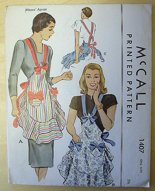 McCalls 1407 vintage apron with bow sewing pattern.