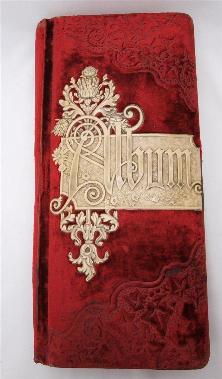 vintage antique red velvet victorian photo album patented