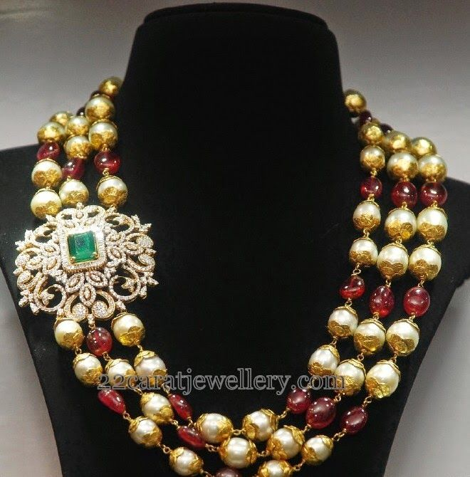 Jewellery Designs: Multi Beads Chain with Diamond Motif