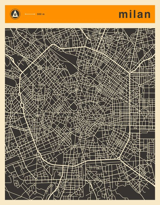 Poster | MILAN MAP von Jazzberry Blue | more posters at http://moreposter.de
