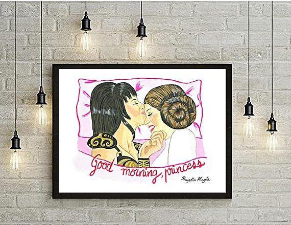 Good Morning Princess Lesbian Art LESBIAN couple PRINTABLE