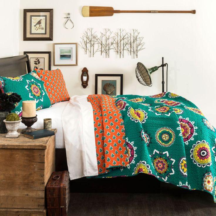The Penelope Boho Bohemian Moroccan 3 PC Teal Orange Bed Quilt SET