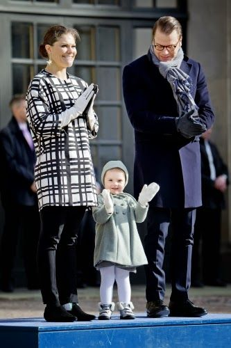 Crown Princess Victoria celebrated her name day at the Royal palace square in Stockholm with her family.