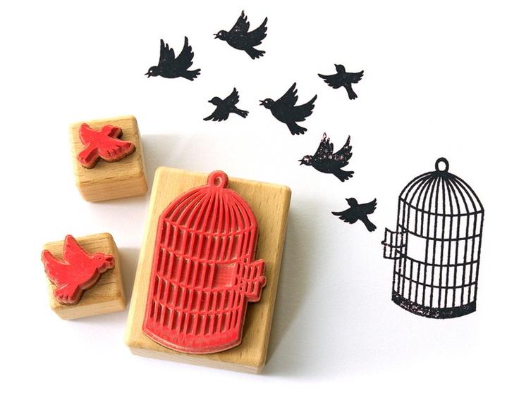 Stempel Set: Vögel mit Käfig