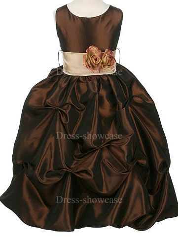 Fall  flower girl dresses | ... Dark Brown Taffeta Ball Gown Flower Girl Dress -Flower Girl Dresses