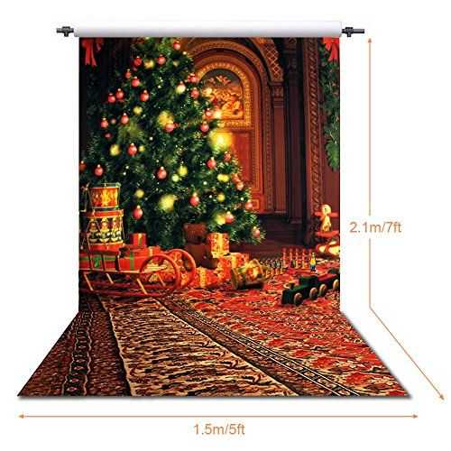 ANVOT Christmas Backdrops 5 x 7 FT/1.5 x 2.1 M Christmas Tree Red Carpet Backdrop For Photography Studio Video Shooting
