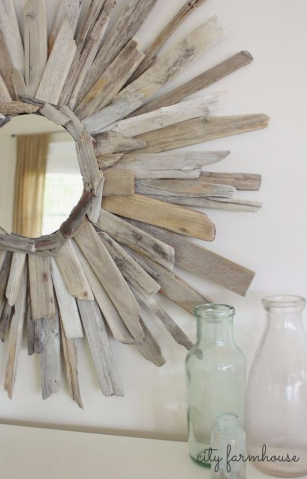 DIY Mirrors - Thrifty & Pretty DIY Driftwood Mirror - Best Do It Yourself Mirror Projects and Cool Crafts Using Mirrors - Home Decor, Bedroom Decor and Bath Ideas - Step By Step Tutorials With Instructions http://diyjoy.com/diy-mirrors