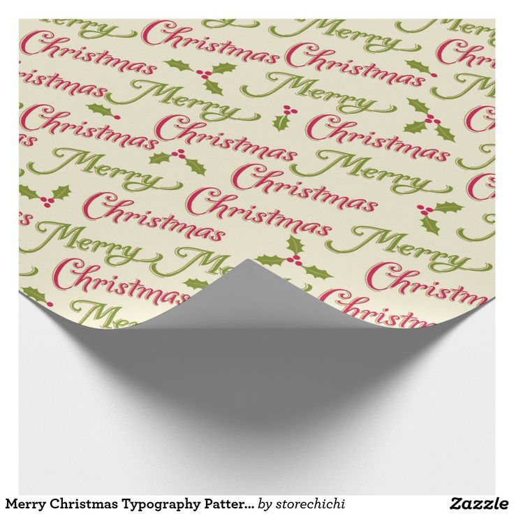 Merry Christmas Typography Pattern and holly