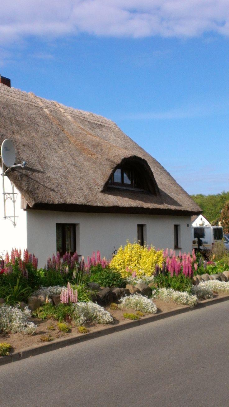 Romantischer Reetdachhaus auf der Insel Rügen