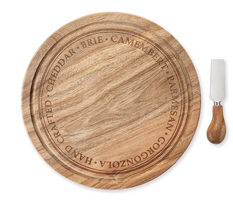 Rustic Farmhouse Rounded Cheese Board And Knife Set