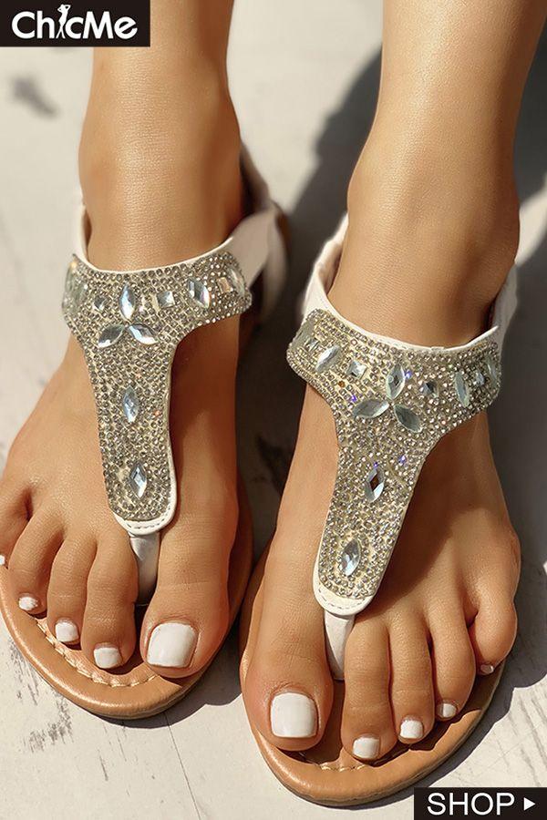 e47c6d0925e9 Studded T-Strap Casual Flat Sandals. Visit. April 2019