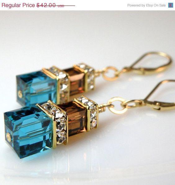 Teal and Chocolate Crystal Earrings, Custom Bridal Wedding, Swarovski, Handmade Jewelry, Fall Fashion, Christmas In July, ChristmasInJuly