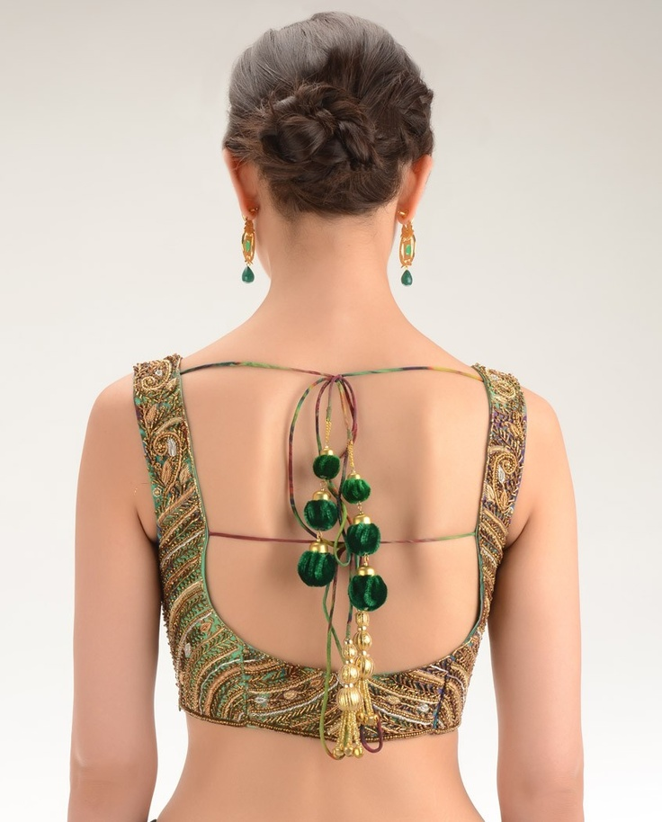 Sea Green and Peacock Blue Sleeveless Blouse with Beaded Embellishments - Exclusively In