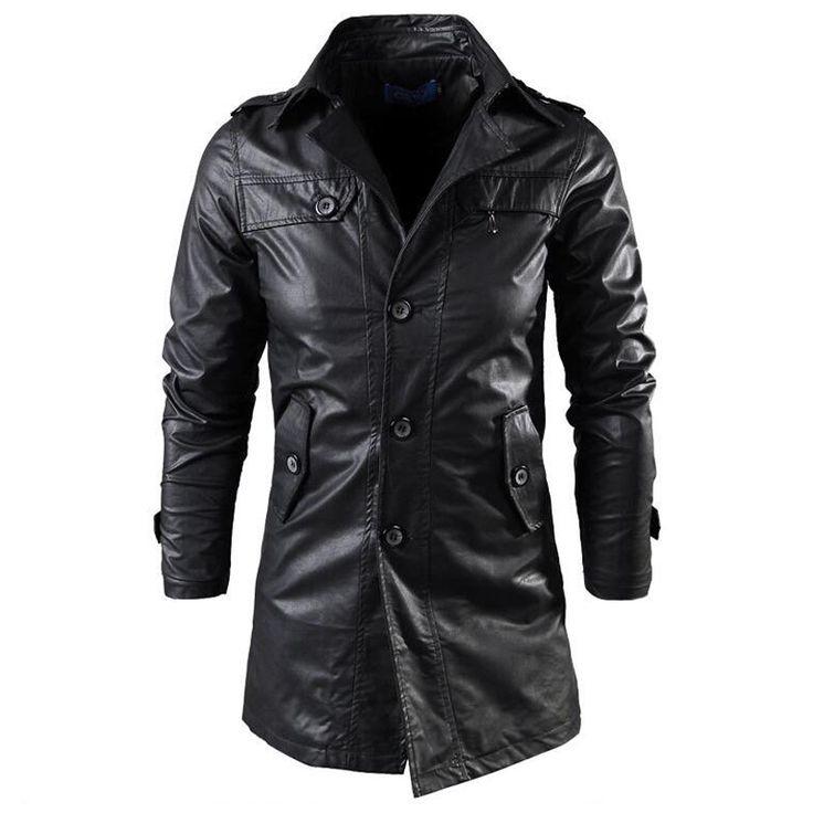 Купить товар2016 Европейских и Американских Длинные Кожаные Куртки Мужские Кожаные Куртки Ветровка Пальто Англия Стиль Кожаные Куртки S1674 в категории Пальто из ПУ кожина AliExpress.  2016 England Style Men Leather Jackets Overcoat Casual Leather Cap Jacket Coat Brand Leather Coat Clothes Western