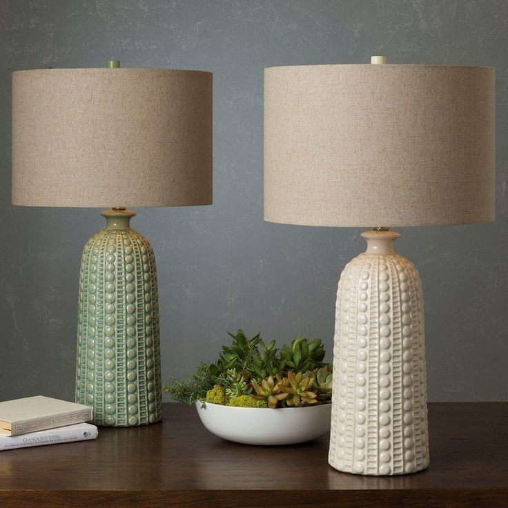 Hollywood Table Lamp With Glazed Ceramic Base (White/Tan)