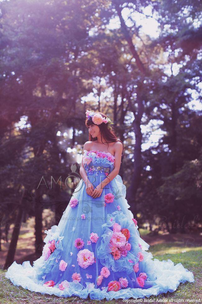 【楽天市場】【送料無料】ウェディングドレス_ウエディングドレス_二次会ドレス_カラードレス_花ドレス (c088b):ブライダルアモーレ