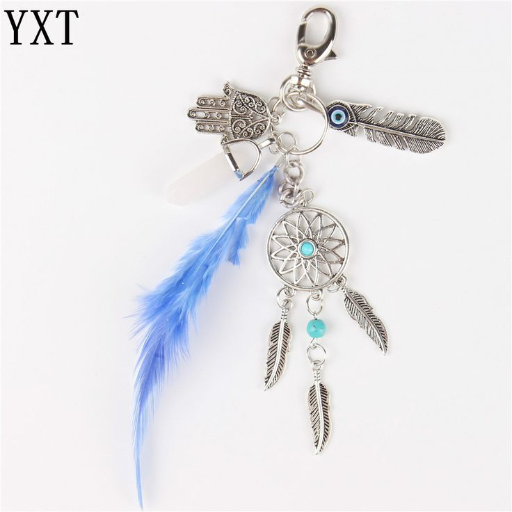 Natural Feather Boho Palm Hand Stone Pendant Charm Crystal Purse Bag Keyring Key Chain Accessories Wedding Gift