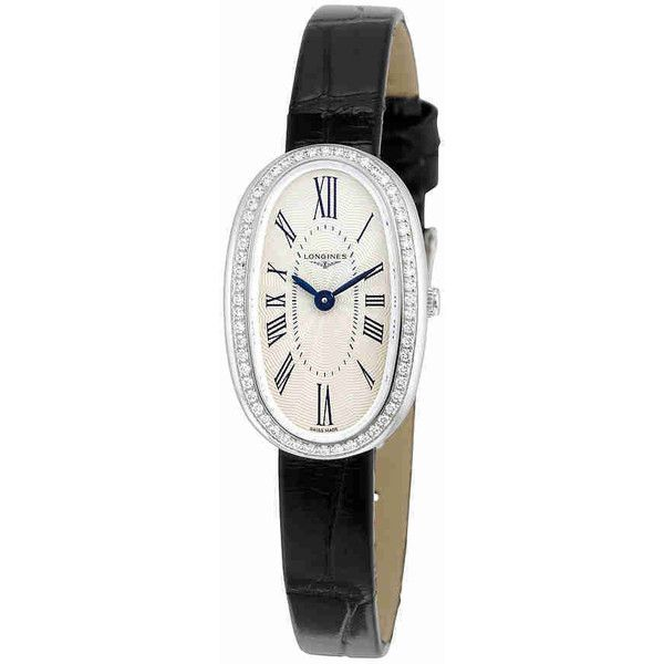 Longines Symphonette Silver Dial Black Leather Ladies Watch ($2,275) ❤ liked on Polyvore featuring jewelry, watches, quartz movement watches, water resistant watches, silver dial watches, analog wrist watch and dial watches