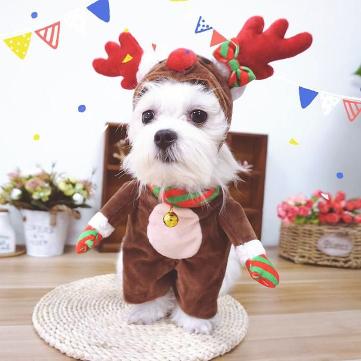 Cute Reindeer Christmas Jumpsuit Costume Cosplay For Dogs