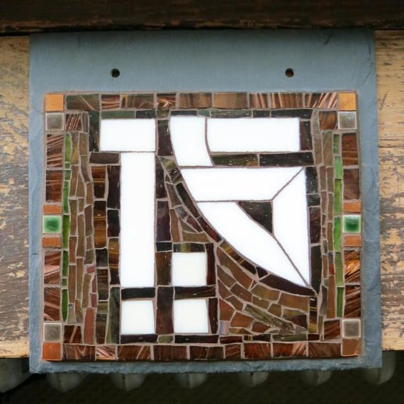 Arts and Crafts Style Font 2 Digit House Number on Slate 8x8