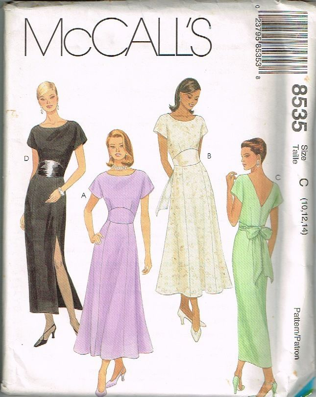 1996 UNCUT McCalls SEWING Pattern 8535 Semi Fitted Evening Gown 10 12 14  #McCalls #