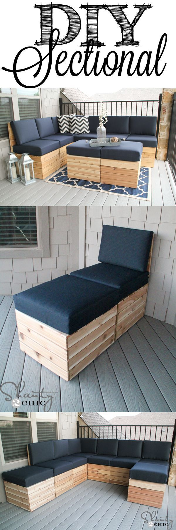 Easy to build modular seating! Mix and match to fit any space! Free Plans at shanty-2-chic.com