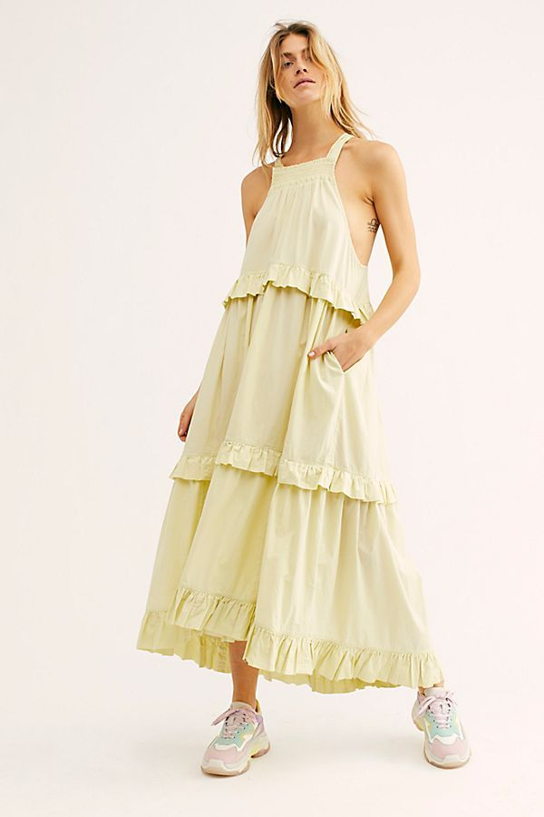 90453309 Anita Midi Dress - Light Yellow Tiered Midi Dress - Tiered Midi Dress -  Summer Dresses - Free People Dresses - Free People Boho Dresses