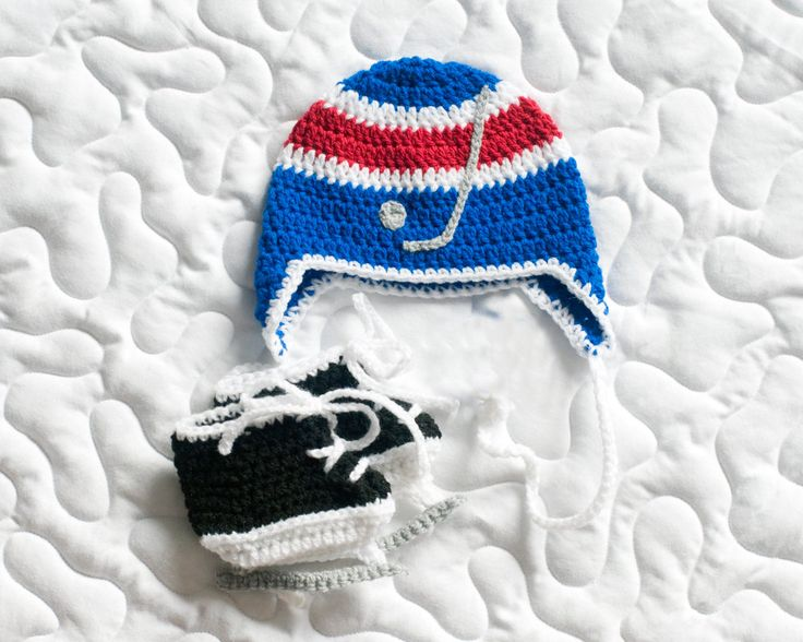 BABY HOCKEY HAT New York Rangers pacifier not included, Crochet Hockey Baby, Hockey Baby Knit Hat, Knit Baby Hockey Skates, Hockey Baby Boy by Grandmabilt on Etsy
