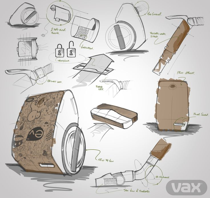 Jake Tyler's sketches for his cardboard vacuum cleaner, designed for Vax when he was a student at Loughborough University #Vax #vacuum