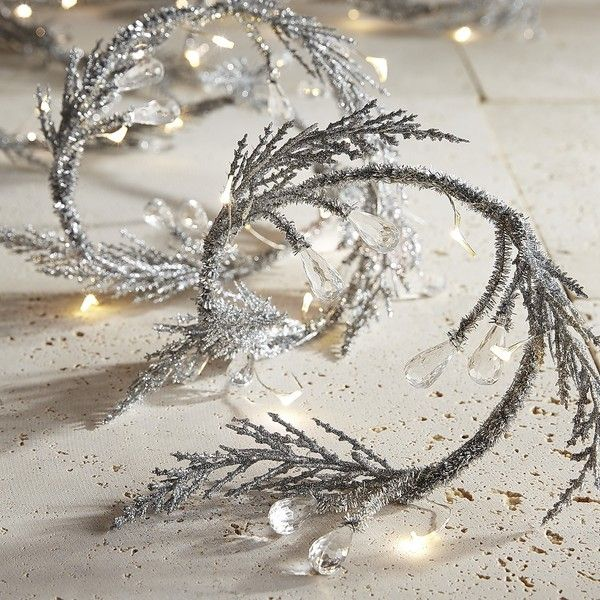 Pier 1 Imports Tinsel Garland 10' LED Glimmer Strings ($40) ❤ liked on Polyvore featuring home, lighting, white, white outdoor lights, battery powered string lights, outdoor lighting, battery operated lights and battery powered outdoor lights