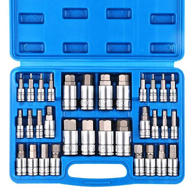 Casoman 32 Piece Master Hex Bit Socket Set S2 Steel Sae And Metric Allen Socket Bit 5 64 Inch To 3 4 Inch 2mm To 19mm Socket Tool Kit Review Socket Set Tool Kit Impact Sockets