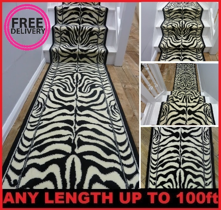 Zebra Black - 60cm wide - Cheap Carpet Runner Rug for Long Hall Hallway Stair UK | eBay