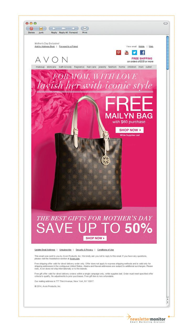 Brand: AVON | Subject: Shop For Mom & Get a FREE Tote Bag!