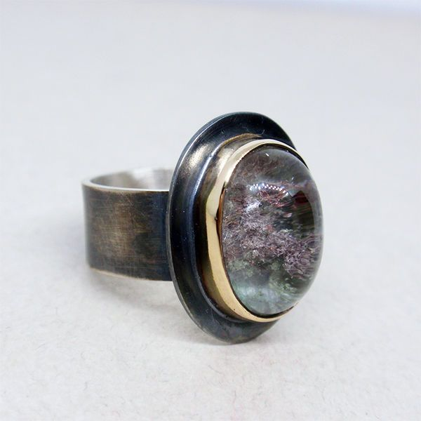 Sterling silver and 14K goldfilled ring with lodolite quartz #quartz #jewelry #silverjewelry #ring  кольцо с кварцем, серебряное кольцо, кварц с лодолитом